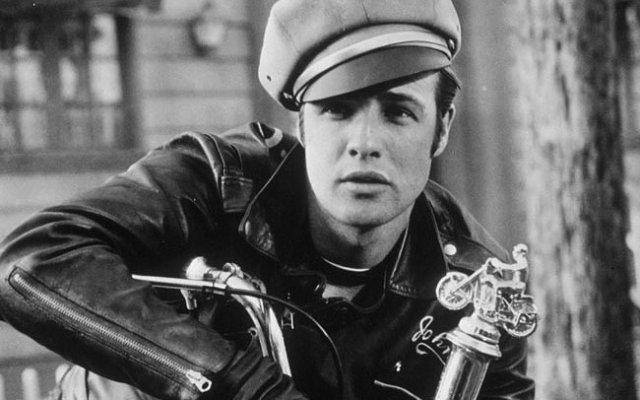 Marlon Brando with his leather jacket in The Wild One