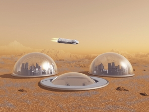A human colony on Mars would most likely make use of hydroponics.